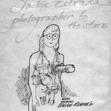 Bill Rotsler's sketch of Jackie Estrada, photographer to the stars