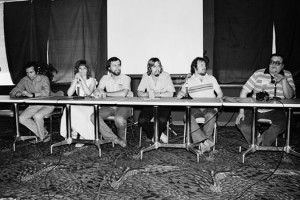 Jack Katz, Wendy and Richard Pini, Dave Sim, Mike Grell, and Shel Dorf on a SD Con panel