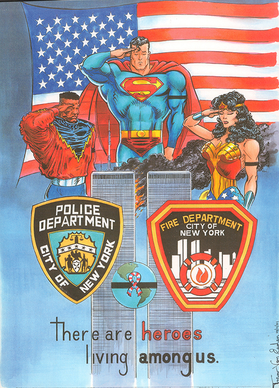 Rejected art for the 9-11 Memorial book from DC Comics